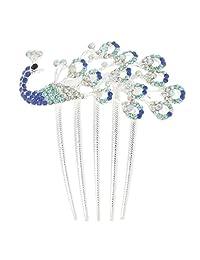Fashion Rhinestone Peacock Hair Comb Wedding Bridal Hair Slides Headpiece