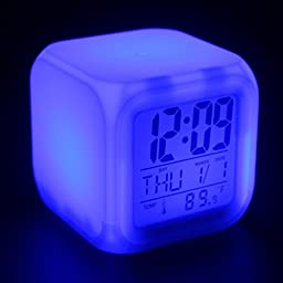 CooCu Colour Change Glowing LED Alarm Clock display Time , Data , Week ,Temperature and Sleeping