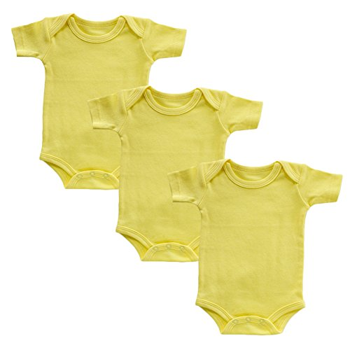 Infant Onesies Newborn Baby Boys Short Sleeve Bodysuit Set of 3 (Yellow,3M) ()