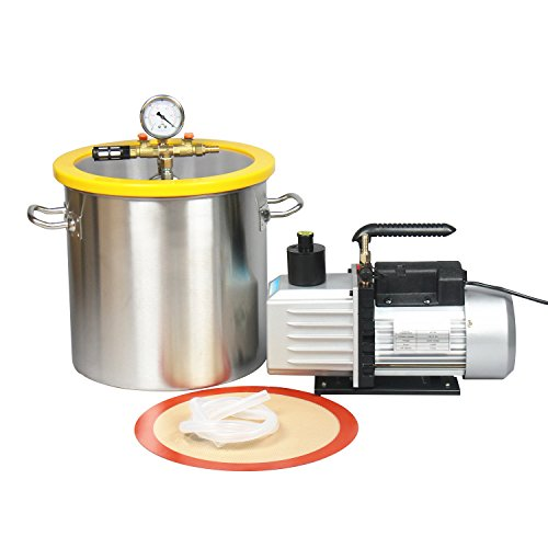 Hydrion Scientific 5 Gallon Vacuum Degassing Chamber Kit with 2 stage 7CFM Pump - Not for Wood Stabilizing