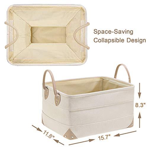 "Decorative Fabric Storage Bins Basket, 15.7x11.8x8.3"" Large Canvas Laundry Room Storage, Fabric Storage Baskets for Closet Shelves, Foldable Storage Bin for Organizing Shelf Nursery Office"