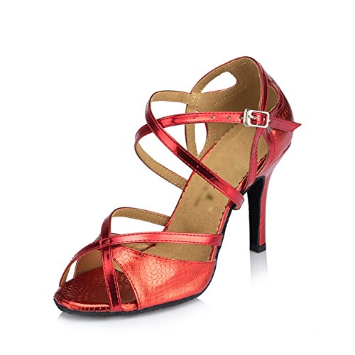 WYMNAME Mujeres Zapatos De Baile Latino,Tacones Fondo Blando Peep-Toe Zapatos De Baile Social Sandalia Rojo