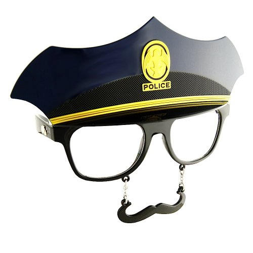 [Police Cop Officer Costume Party Mustache Sunglasses (navy)] (Police Mustache Glasses)