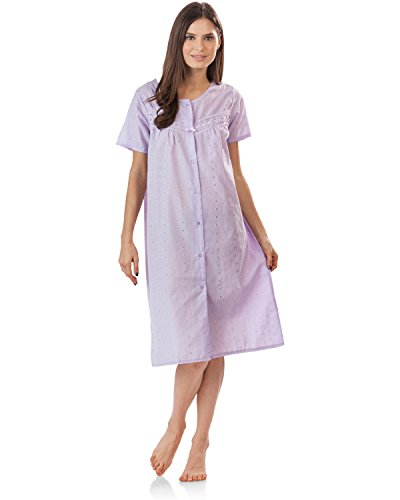 Length Eyelet - Casual Nights Women's Short Sleeve Eyelet Embroidered House Dress - Purple - Small