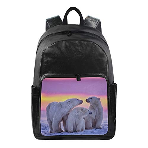 - Polar Bear Simple Backpack School Bags Casual Stylish Outdoor Sports Large Capacity Casual Travel Rucksack Student College Bookbag for Men Women Teenagers Black