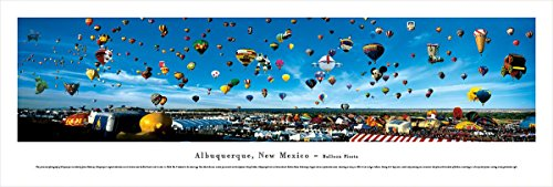 New Mexico Balloon - Albuquerque, New Mexico - Balloon Fiesta - Blakeway Panoramas Unframed Skyline Posters