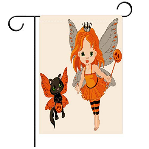 Polyester and linen Garden Flag Outdoor Flag House Flag BannerHalloween Halloween Baby Fairy and Her Cat in Costumes Butterflies Girls Kids Room Decor Decoradecorated for outdoor holiday gardens -