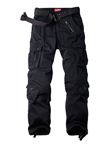 Must Way Men's Cotton Casual Military Army Cargo Camo Combat Work Pants with 8 Pocket Black 36 (Canvas Cotton Work Pants)