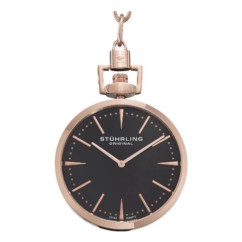 Geneve Gold Pocket Watch - Stuhrling Original 815.03 Montres de Poche Pedigree Swiss Quartz Rose Tone Pocket Watch