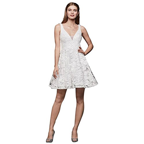 Skirt Embroidered White Mesh Circle Dress Bridal Mini David 264926 Style s BO0xFnw