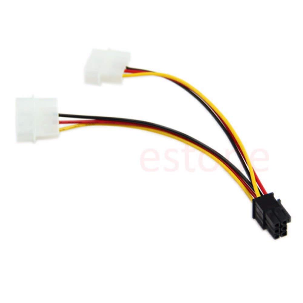 Gimax Big 4P Male Connector to 2 SATA Female Plug Power Cable
