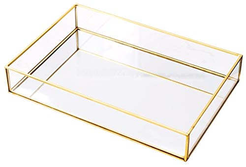 Rectangle Vintage Glass Tray Countertop Holder Dresser Organizer Bathroom Dish Display Party -