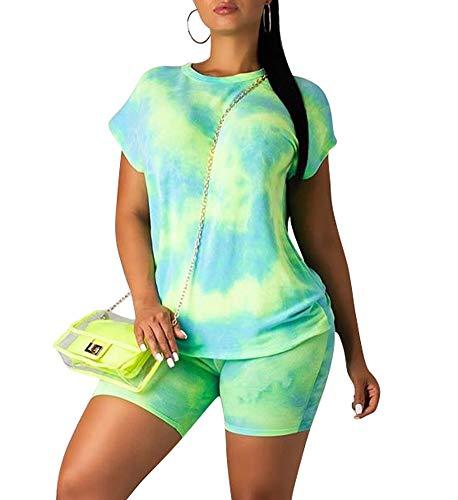 Womens Casual Shorts Set Tie Dye Short Sleeve T-Shirts Biker Short Tracksuit Set (Best Biker T Shirts)