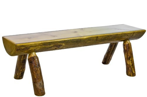 (Montana Woodworks MWGCHLB6 Glacier Country Collection Half Log Bench, 6-Feet)