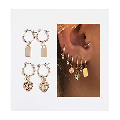 Small Hoop Earrings for Women - Gold Hoop Earrings Set Cz Cartilage Earrings for Lovers (Gold Heart)
