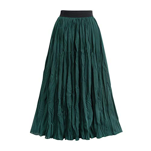 Sunhusing Ladies Solid Color Retro Style Twisted-Pleated Large Swing Skirt Beach Boho Elastic Waist Maxi Skirt Green