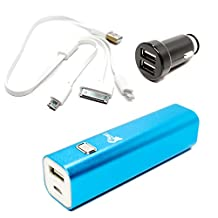 LG COOKIE 3G T320 Portable Charger - External Battery Pack with Multiple USB Cable & Dual USB Car Charger (Single USB Power Bank, 3000mAh, 1A Output)