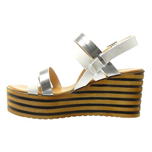 Mule Blanc Chaussure Mode cm 8 Talon Compensé Plateforme Brillant Sandale Plateforme Angkorly Femme Lignes UtS1n1Ow