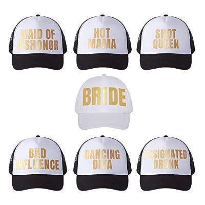 POP FIZZ DESIGNS Bachelorette Trucker Hats I 7 Pack I 1 Bride Hat 6 Bride Tribe Hats