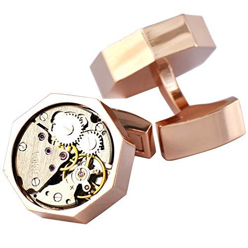 Pavaruni Original Cufflinks 50+Color Steam Punk Watch Movement Automatic Mechanical Vintage Novelty (Octagon1-Rose Gold)