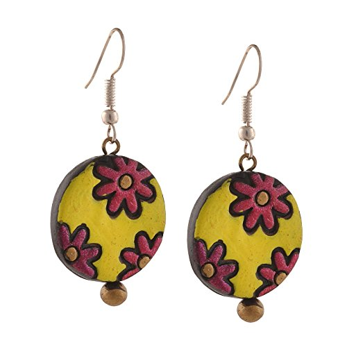 Handmade Painted Terracotta Hook Dangle Earrings
