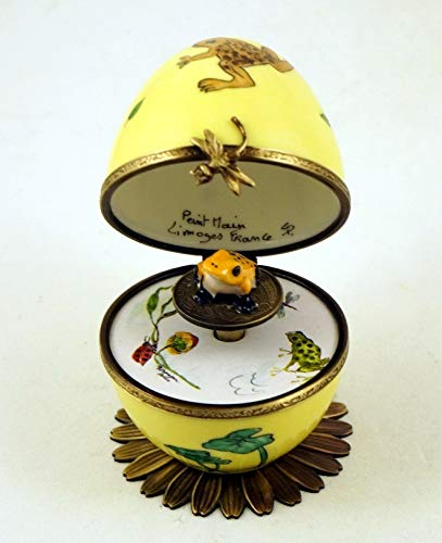 Porcelain Musical Egg - Authentic French Porcelain Hand Painted Limoges Box Musical Egg with Yellow Frog Key