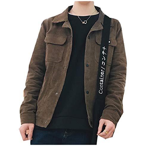 Pockets Howme Coffee Turn Moto Corduroy Men Down Biker Collar Solid Jacket rXXHwZq