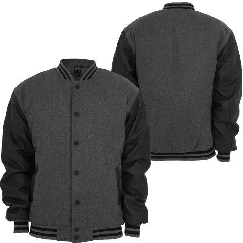 Urban Classics Half-Leather Chaquetas Universitarias gris Negro: Amazon.es: Ropa y accesorios