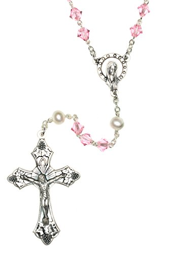 (Catholic Prayer Rosary made with Light Rose Pink and White Pearlized Swarovski Crystals)