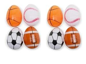 8 Plastic Easter Eggs Decorated Like Sports Balls - Football - Baseball - Soccer Ball - Basketball
