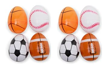8 Plastic Easter Eggs Decorated Like Sports Balls