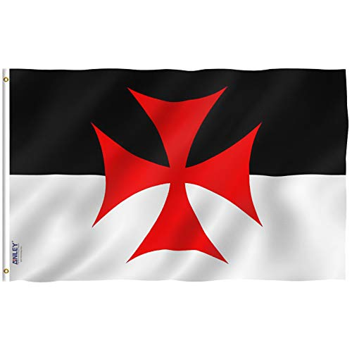 Battle Flag - Anley Fly Breeze 3x5 Foot Knights Templar Battle Flag - Vivid Color and UV Fade Resistant - Canvas Header and Double Stitched - Roman Catholic Church Flags Polyester with Brass Grommets 3 X 5 Ft