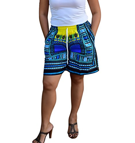 Larghi Etno Estivi Donna Beach Elegante Pantaloncini Mare Shorts Vacation Stampati Floreale Style Blu Woman Moda Casual Bicchierini wXvFExRq