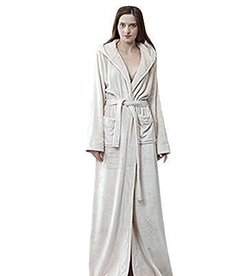 Jepaja Hooded Long Bathrobe Winter Flannel Pajamas Women Robe