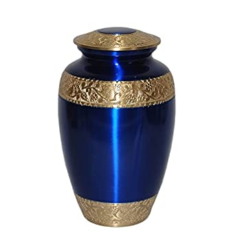 Sapphire Blue Cremation Urn for Human Ashes – Adult Funeral Urn Handcrafted – Solid Brass Urn – Affordable Urn for Ashes – Large Urn Deal