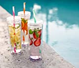 Cupture Skinny Acrylic Tumbler Cups with Straws