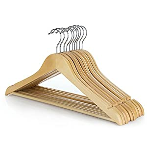 HANGERWORLD Pack of 10 Wooden Clothes Hangers