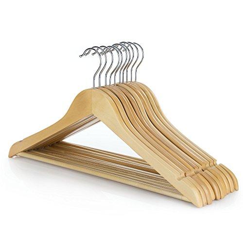 HANGERWORLD 10 Natural Wooden 45cm Coat Clothes Garment Hangers with Non Slip Trouser Bar