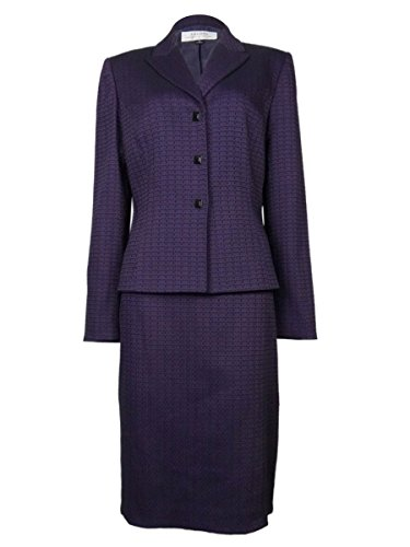Tahari by ASL Women's Patterned Three Button Skirt Suit (8, Purple/Black)