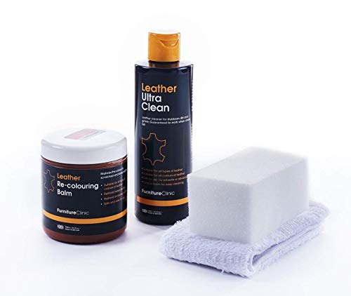 Furniture Clinic Leather Easy Restoration Kit   Set Includes Leather Recoloring Balm & Leather Cleaner, Sponge & Cloth   Restore & Repair Your Sofas, Car Seats & Other Leather Furniture (Ivory)