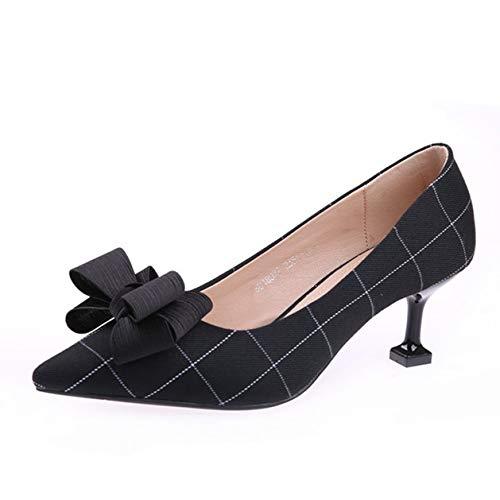 HOESCZS Halbhackige Schuhe weiblich 2019 Herbst Neue Stiletto Spitze Plaid Bogen Stiletto Neue Heels flachen Mund einzelne Schuhe 6 cm 50063d