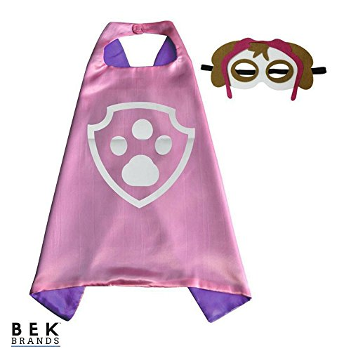 Kids Dress Up Cape and Mask Costume for Superhero Party Favors, Halloween, and More (Skye with Paw) Blue]()