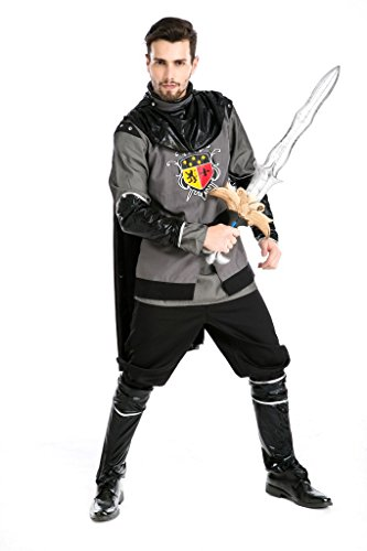 PINSE Mens Medieval Mercenary Dark Knight Carnival Costumes - Adult Medieval Mercenary Costumes