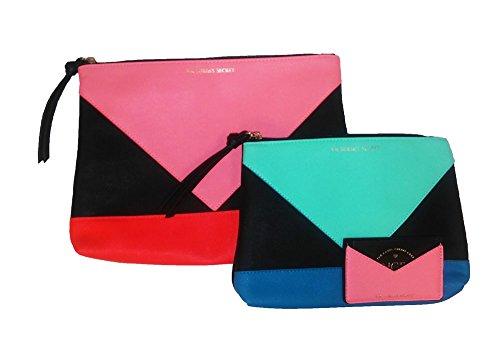 Victorias Secret Trio Set Cosmetic Travel Bag Colorblock Black Mint Coral
