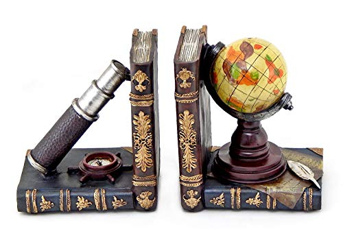 Bellaa 26263 Telescope and Globe Bookends Pirate Old World Nautical Books Holder