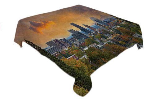 Oregon Table Cloth Cover City of Portland in Autumn Season Downtown and Business District Urban Photography Multicolor tablecloths Party Decorations Square tablecloths 50 by 50 inch -