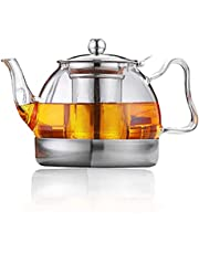 Glass Teapot with Infuser, Sharemee Borosilicate Stovetop Safe Clear Tea Pots Strainer for Blooming Tea, Loose Tea 27oz