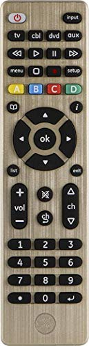 GE Universal Remote Control for Samsung, Vizio, LG, Sony, Sharp, Roku, Apple TV, RCA, Panasonic, Smart TVs, Streaming Players, Blu-ray, DVD, Simple Setup, 4-Device, Gold, 33710 (Best Universal Remote Controls 2019)