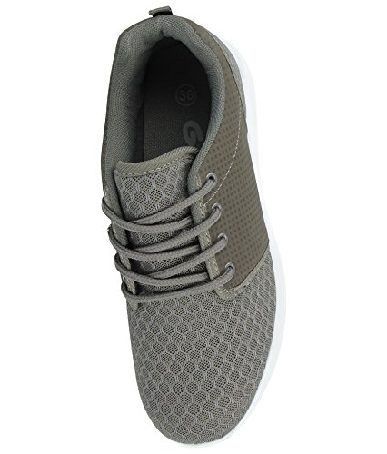 Comfort Galop Gym Footwear Casual Trainers Lace Lightweight Sports Foster Shoes Running Grey 816109 Mesh up Ladies Avqx7x1