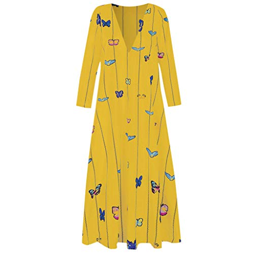 Aotifu Women Vintage Autumn Maxi Dress Daily Casual Long Sleeve Striped Bohemian Flower Printed Long Dress Loose ()
